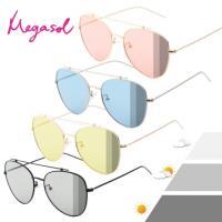 【MEGASOL】寶麗萊UV400時尚中性雷朋偏光太陽眼鏡變色墨鏡(感光智能變色灰片彩片全天候適用-BS8615)