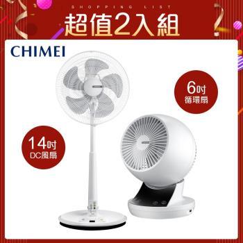 CHIMEI奇美風扇14 吋微電腦智能溫控DC節能風扇DF-14B0ST+6吋循環扇DF-06AWUD