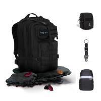 Bagrun 都會玩家軍事風格後背包40L+配件組(MOLLE小包+防水雨罩+開瓶器鑰匙圈)