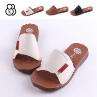 【88%】涼拖鞋-MIT台灣製 皮質鞋面 鞋底特殊 不規則切面造型 舒適好穿一字平底拖鞋