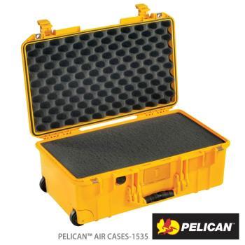 美國PELICAN1535Air輪座拉桿超輕氣密箱-含泡棉(黃)