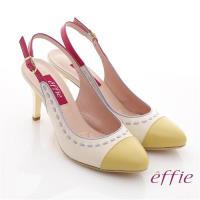 effie 軟芯系列 全真皮雙色拼接車縫線金屬細高跟鞋- 正黃