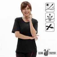【遊遍天下】 MIT台灣製中性款純色透氣吸排圓領機能衫(黑色)