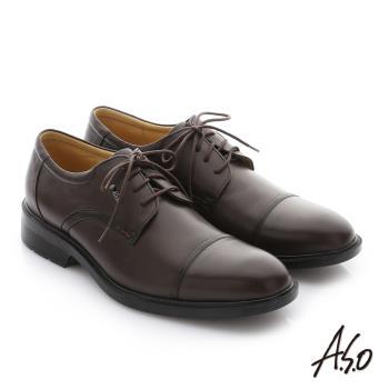 A.S.O 頂級氣墊 油感軟牛皮奈米綁帶紳士皮鞋 咖啡