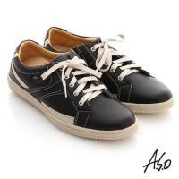 A.S.O 輕量勁步 流線拼色奈米休閒平底鞋 黑