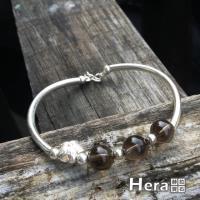 Hera 赫拉 925純銀手作天然茶水晶圓珠梅花手環手鍊