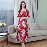 【REKO】收腰顯瘦雪紡印花洋裝M-2XL(共兩色)