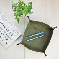 收納職人 北歐簡約皮革桌面收納盒/首飾托盤/玄關鑰匙盤(橄欖綠)