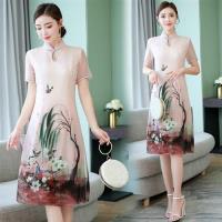 【REKO】中國風印花改良式旗袍洋裝M-3XL(共二色)