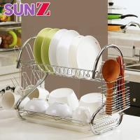 SUNZ-多功能優質不鏽鋼雙層餐具碗盤瀝水置物架(帶杯架+筷架)