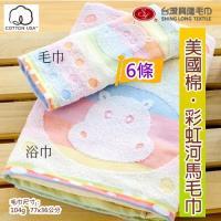台灣興隆毛巾製  美國棉 彩虹河馬提花毛巾 (6條裝)