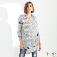 MONS名品風長版貼布刺繡條紋襯衫