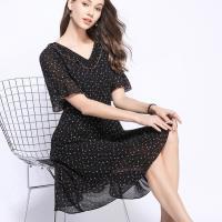 麗質達人 - 79798黑色印花雪紡洋裝