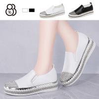 【88%】休閒鞋-皮質鞋面 鞋頭/鞋底側水鑽造型 舒適乳膠鞋墊 懶人鞋