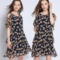 麗質達人 - 12237寶藍色印花洋裝