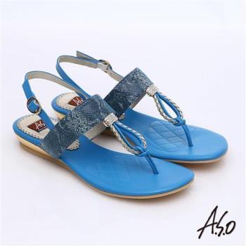 A.S.O 軟芯系列 動物紋水鑽T字減壓涼鞋 藍