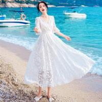 【維拉森林】夏日浪漫白色V領荷葉袖洋裝M-L