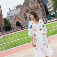 【維拉森林】波西米亞風刺繡洋裝S-XL(共三色)