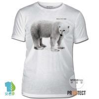 摩達客-預購-美國The Mountain保育系列守護北極熊家園白色修身短袖T恤 柔軟舒適高級混紡