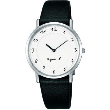 agnes b.法式風情 簡約薄型腕錶(白/33mm) BG4001P1@7N00-0BC0S