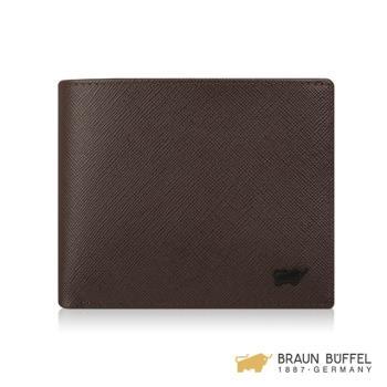 【BRAUN BUFFEL】洛菲諾P系列8卡中間翻窗格零錢皮夾 -咖黑 BF334-318-DM