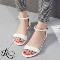 【iRurus 路絲時尚】個性時尚簡約OL珍珠裝飾一字扣平底涼鞋/4色/35-43碼 (RX0591-M203-25)現+預