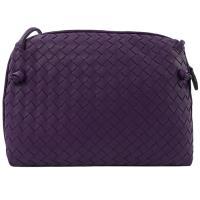 BOTTEGA VENETA 245354 手工編織小羊皮斜背小方包.紫