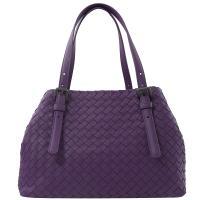 BOTTEGA VENETA 481709 手工編織小羊皮造型托特包.紫