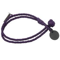 BOTTEGA VENETA 430791 手工編織LOGO吊飾雙圈手環.紫