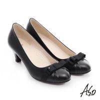 A.S.O 優雅美型 真皮織帶蝴蝶結高跟鞋- 黑