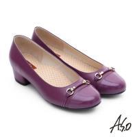 A.S.O 3E舒活寬楦 全牛皮飾帶窩心奈米低跟鞋- 紫紅