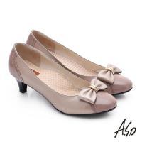 A.S.O 舒活寬楦 真皮氣質蝴蝶結飾奈米中跟鞋- 膚色