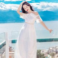 【維拉森林】性感繞頸綁帶清爽白洋裝S-L