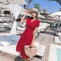 【維拉森林】赫本風紅色復古波點洋裝S-L