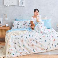 DUYAN竹漾- 台灣製100%精梳棉雙人四件式舖棉兩用被床包組- 松鼠之森