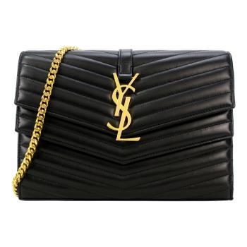 YSL SULPICE雙層Y縫線翻蓋羊皮鍊袋斜背包(黑)