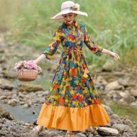 【維拉森林】滿版花朵民俗風拼接洋裝M-2XL