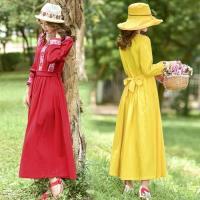 【維拉森林】民族風浪漫復古綁帶刺繡洋裝M-2XL
