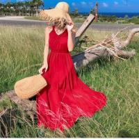 【維拉森林】峇厘島風吊帶沙灘長裙S-XL(共兩色)