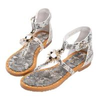 Robinlo 復古性感蛇紋羅馬涼鞋 COCA-灰色