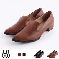 【88%】包鞋-MIT台灣製 皮質鞋面 尖頭低跟休閒鞋 包鞋 樂福鞋 純色簡約款