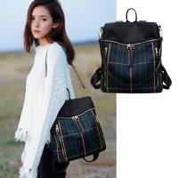 【LOVE  BAG】韓版藍綠格紋線條雙肩包 單肩包(後背包 旅行包)