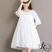【iRurus 路絲時尚】韓系甜美優雅素面圓領五分袖連身裙洋裝/白色/MLXL (RL0086-5903)現+預
