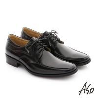 A.S.O 菁英通勤 鏡面摔花牛皮綁帶奈米紳士鞋- 黑