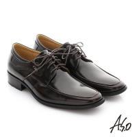 A.S.O 菁英通勤 鏡面摔花牛皮綁帶奈米紳士鞋- 茶
