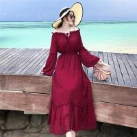 【維拉森林】奢華紅潮一字領宮廷袖長款洋裝S-L