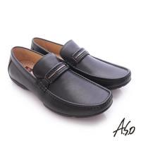 A.S.O 3D超動能 小牛皮直套式彈力舒適休閒鞋- 黑