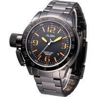 【ALBA】魅力IP黑左龍頭系列鋼帶手錶(AXHK21X1)