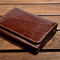 H-CT 亮面錢包設計真皮口袋包/棕(WT1988C)