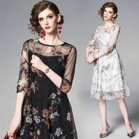 【M2M】輕盈顯瘦絲紗印花洋裝S-2XL(共二色)